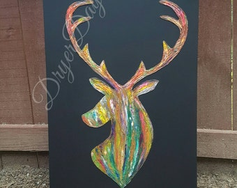 Print options for mixed media acrylic painting on canvas deer head multicolored 18x24 16x20 8x10 poster canvas paper