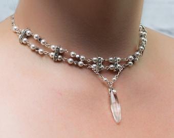 Necklace, Wedding necklace, pearl necklace, crew necklace, white pearl, Swarovski pearl, Swarovski crystal