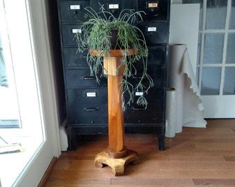 Vintage Wooden Plant Stand • Pedestal