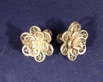 Vintage Hand Crafted Silver Flower Earrings