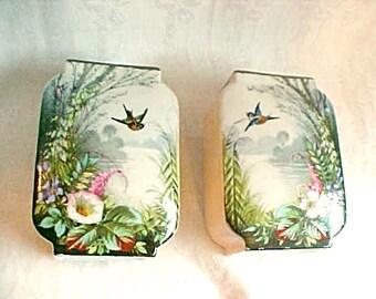 Antique Porcelain Vases - Vintage Matching Pair - Beautiful Hand Painted Flowers and Birds - Exquisite Artistry - Old Paris - Vieux Paris