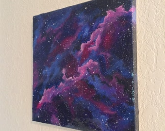 EMISSION NEBULA original one of a kind resin acrylic space painting art