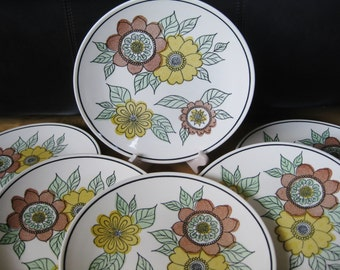 1950s Taylor Smith Taylor  Flora  dinner plates, set of 6, Like new with no apparent signs of use