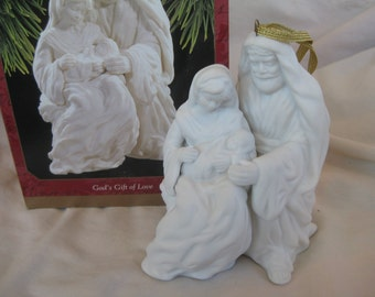 """1997 HallmarkBisque  """"God's Gift of Love""""  Ornament  Very good IOB Original owner personal collection Nativity ornaments"""