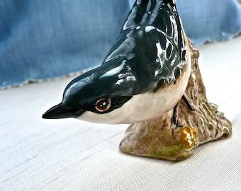 Beswick Figurine - English Porcelain Bird - Nuthatch - Hand Painted - Made in England Bird- Bird Figurine - Cabinet Bird - Vintage Figurine