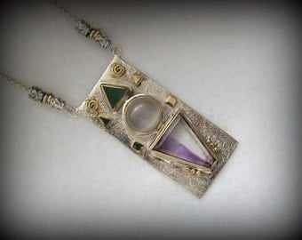 """Vintage OOAK Pendant Necklace -- Moonstone, Chrysoprase and Amethyst set in Sterling with GF Accents -- 37.9g, 17.5"""" Long, Excellent Cond."""