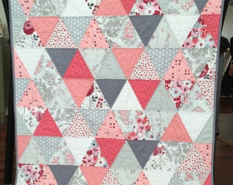 Modern Triangle Baby Toddler Girl Patchwork Quilt Grey Pink White floral dots