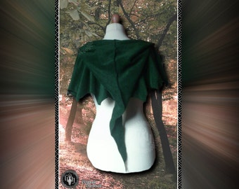 Polar fleece hooded pixie capelet, shawl, tendril ties, elven, faerie, goth, festival
