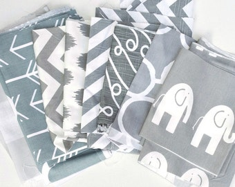 Gray White Fabric Scraps Bundle,Anderson, Fynn, Arrow, Zig Zag, Barcelona, Freehand, Elephant Ele, Home Decor Premier Prints REMNANT CUTS