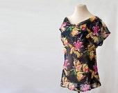SAMPLE SALE, black floral silk blouse, size XS-S, draped, plunging neckline, ballet neck, boat neck blouse, sheer silk, chiffon, orchids