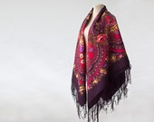 purple Russian shawl, rich red and purple with roses and poppies, SALE wool throw, bohemian shawl, gothic accessory, statement shawl NWT NEW