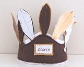 Felt Birthday Hat, Feather crown, First Birthday Hat, Native Indian Headdress