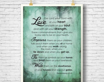 Bible Verse, Scripture Printable, Scripture Art, Deuteronomy 6, Home Decor printable, INSTANT DOWNLOAD