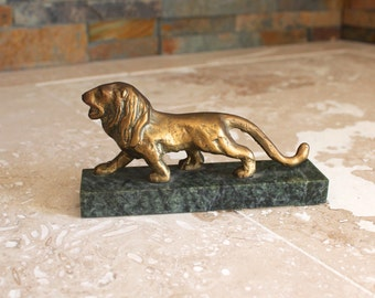 Solid brass lion on green marble base - brass lion - small brass lion - lion statue - lion figurine - gift for attorney - desk decor