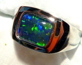 Mens Opal Ring Sterling Silver, Natural Opal Triplet. 10x8mm Rectangle. item 90787