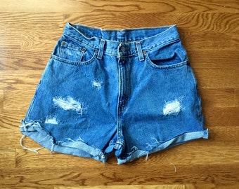 Perfect Worn Distressed Levi's Denim Shorts AKA Daisy Dukes