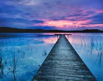 Blue Sunset, Pier Photo, Lake photograph, 5x7 8x12 16x23.5 metallic paper metal print vivid metal