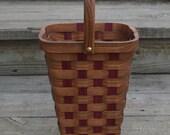 Wine tote basket Red Elm wood