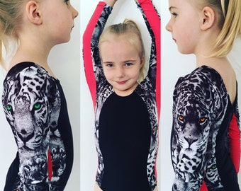 girls panelled gymnastic leotard sizes 9-10