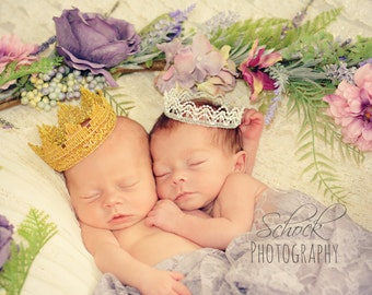 Baby Crown White and Silver Beaded Crown Newborn Prop Newborn Lace Crown Newborn Photo Prop Baptism Crown Wedding Cake Topper