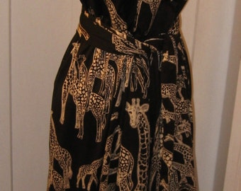 Giraffe long V-neck dress print with sash belt black & white size small medium plunge