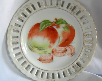 Floral and Nut Motif Reticulated Plate   Hand Painted Made in Japan   Vintage