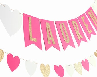 Hot Pink Gold Name Banner - Hot Pink Gold Birthday Banner - Magenta Gold Room Decor - Hot Pink Room - Hot Pink Birthday
