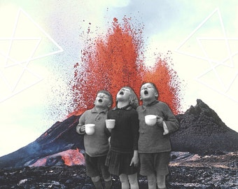 Children by Volcano - Surreal Digital Collage / Instant Download