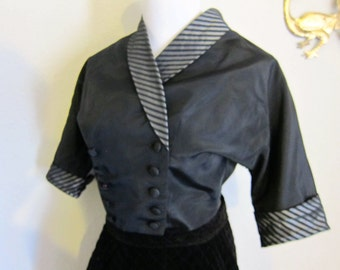 Black and silver taffeta striped double breasted bolero top