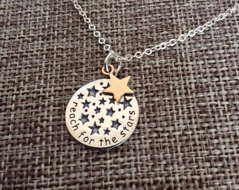 Graduation Necklace, Inspirational Necklace, Reach For The Stars Quote Necklace, Graduation Gift, Promotion Gift, New Job Gift