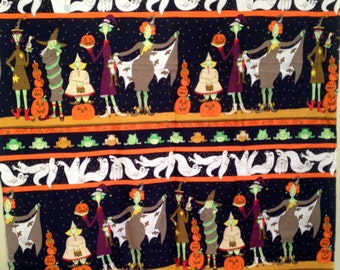 Moda HALLOWEEN QUILT FABRIC by Cynthia Young Hedgehog Productions 100% Cotton 1/2 Yard Only Whimsical Witches Ghosts Frogs