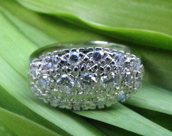 DEADsy LAST GASP SALE One Carat tw Antique Style Diamond Cluster Engagement Ring, White Gold Diamond English Art Deco Ring
