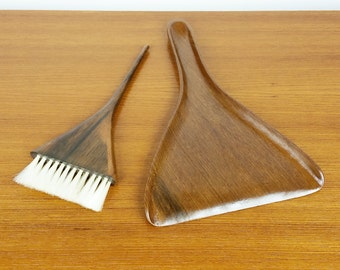 Vintage Walnut Table Dustpan and Brush