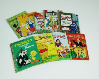 Vintage Little Golden Books, lot of 9, Captain Kangaroo, Winnie the Pooh, Disney, Sesame Street & more