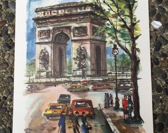 Signed Arno Paris print, L'Arc de Triomphe, dog, cars, mid century modern watercolor print, frameable, 1960's era