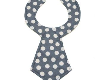 Gray Polka Dot Baby Necktie Bib