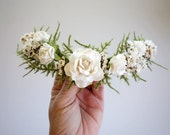 Bridal Hairpiece, White Hairpiece, Blush Wedding, Dried Flower Headpiece, Half Flower Crown, Bridesmaids Hair, Boho Wedding, Rose Hairpiece
