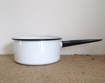 black white enamel cookware, enamel pot, Vintage kitchen, camping kitchen