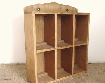 wood shadow box, divided wood box, desk organizer, wall display box, studio organization, make up organizer, Square wood box