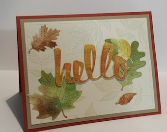 Autumn hello blank card, falling leaves, thinking of you, fall oak leaves note card