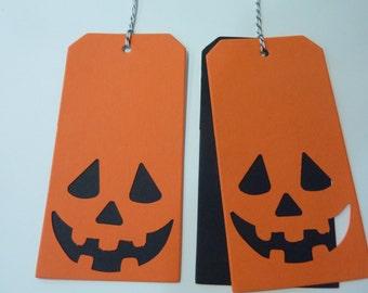 12 Halloween Party Favor Gift Tags Jack-O-Lantern Pumpkin Hang Tags Craft Supply Lot