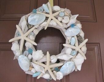 Beach Decor Seashell and Starfish Driftwood Wreath - Blue and White Shell Wreath - Turquoise Shell Wreath - Coastal Home Decor - Nautical