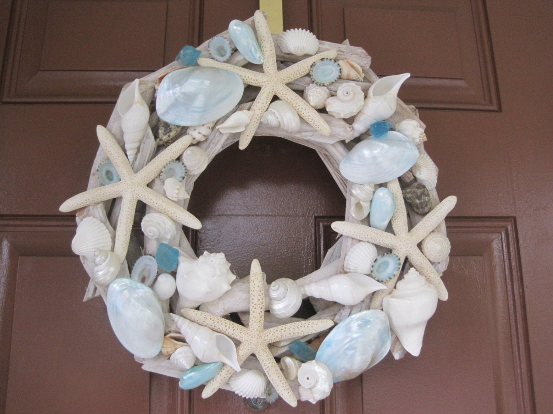 Beach Decor Seashell And Starfish Driftwood Wreath Blue And
