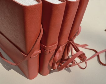 Custom Order Red Leather Journal Set Bound Collection (486B)