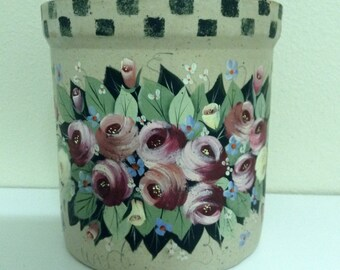 Vintage salt glazed  rustic primitive crock Hand Painted French country roses graden flowers