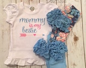 Mommy is My Bestie- embroidered ruffle shirt-M2M Sew Sassy Blooming Days- m2m Sew Sassy Peach- m2m sew sassy sly blue