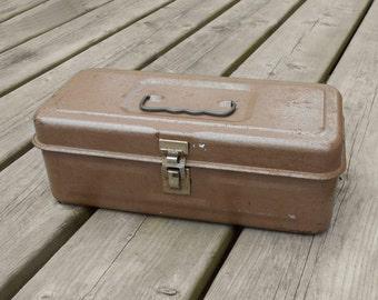 Vintage Tool Tackle Box Brown Metal Home Decor Storage Staging