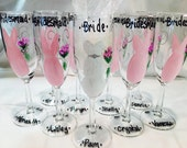 Champagne Wedding Glasses, Bridal Party, Handpainted Wine Glasses, Personalized Bridesmaides, Maid of Honor and Bride Champagne Glass