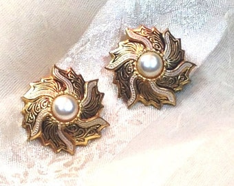 20% OFF Back2SchoolSale Vintage Damascene Earrings With Mother of Pearl Clip On Estate Jewelry