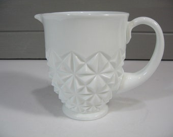 Milk Glass Pitcher, Indiana Glass Pitcher, Vase, Country, Classic, Farmhouse